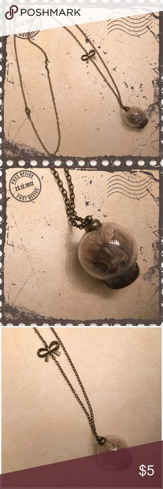Dried Flower Necklace Vintage style necklace with glass orb. Contains dried flowers. Pendant necklace. Jewelry Necklaces