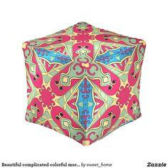 Beautiful complicated colorful moroccan ornament. cube pouf make interior unique and add aesthetics sense. Ornament create in oriental tradition. #Home #decor #Room #Interior #decorating #Idea #Styles