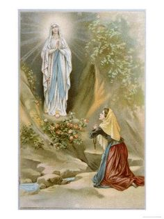 Giclee Print: Bernadette Soubirous While Gathering Firewood Sees the Virgin Mary in the Rocky Grotto at Lourdes : Bernadette Of Lourdes, Santa Bernadette, Blessed Mother Mary, Blessed Virgin Mary, Divine Mother, La Salette, Mama Mary, Queen Of Heaven, Our Lady Of Lourdes
