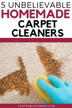 Do you have a spot on your carpet that's dirty, but you don't want to use hazardous chemicals to clean it, try these 5 unbelievable homemade carpet cleaners to get your carpet looking new again. Cleaning Carpet Stains, Rug Cleaning, Cleaning Hacks, Hacks Diy, Deep Cleaning Tips, House Cleaning Tips, Diy Cleaning Products, Carpet Cleaning Recipes, Diy Products