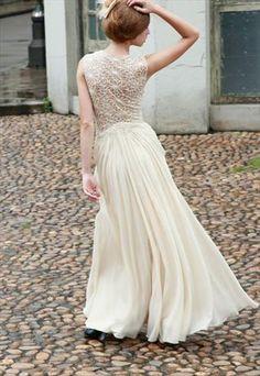 ECRU EMBROIDERED A LINE WEDDING DRESS (80551)