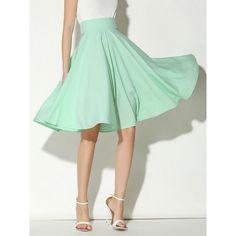 Choies Light Green High Waist Midi Skater Skirt ($17) ❤ liked on Polyvore featuring skirts, green, high waisted midi skirt, high-waist skirt, high waisted circle skirt, light green skirt and high-waisted skirts