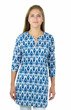 navy and white ikat tunic---great for the beach, pool or add a belt with white jeans or shorts and you'll be ready to go!