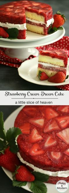Strawberry Cream Dream Cake: A Little Slice Of Heaven Produce 1 tsp Lemon, zest 6 cups Strawberries, fresh 2 cups Strawberries Refrigerated 6 Egg whites 6 Egg yolks Baking & Spices 1 tsp Baking powder 1/2 tsp Cream of tartar 1 1/2 cups Flour 1 Food coloring, red 1 cup Granulated sugar 1 tsp Lemon flavoring 1/2 tsp Salt 1 1/2 cups Sugar 2 tsp Vanilla 1/2 cup Whipped cream, heavy Desserts 3 envelopes Gelatin, unflavored Liquids 1 1/8 cup Water
