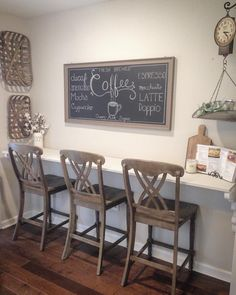Farmhouse kitchen Bar stools coffee chalkboard Farmhouse kitchen Bar stools coffee chalkboard - Style Of Coffee Bar In Kitchen Wood Bar Stools, Kitchen Stools, Kitchen Dining, Kitchen Decor, Farm House Bar Stools, Kitchen Wood, Kitchen Ideas, Bar Table And Stools, Basement Kitchen