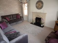 Grey and Lilac Living Room at 12 Woodvale, Dromara, Dromore