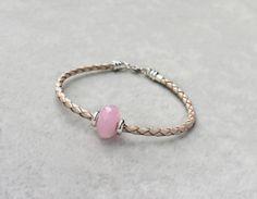 Rose Quartz Leather Bracelet sterling silver by SaruchiRJewellery