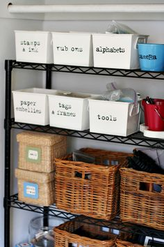 Craft Organization - I like the idea of bins like this. I bet you could find some cheap ones at the dollar store!