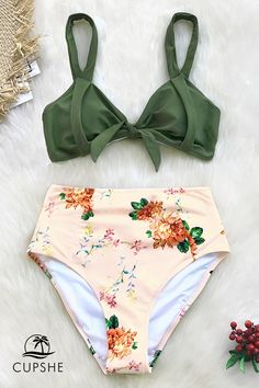 63be812f8faf4 Mix and match in our Green and Peony Print High-Waisted Bikini. The green  bikini top. Cupshe