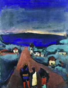 Georges Rouault - Three Figures in a Breton Landscape, 1915 Auguste Herbin, Maurice Utrillo, Chaim Soutine, Max Beckmann, Raoul Dufy, Art Through The Ages, Matisse, European Paintings, Art Station