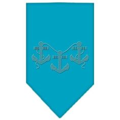 Anchors Rhinestone Bandana Turquoise Small