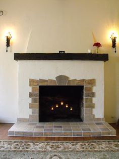 New Tile Fireplace for a Spanish Revival Bungalow Brick Fireplace Makeover, Home Fireplace, Fireplace Remodel, Fireplace Surrounds, Fireplace Design, Fireplace Ideas, Corner Fireplaces, Indoor Fireplaces, Fireplace Facade