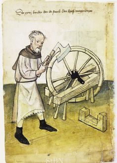 Illustration of a Wagonmaker - From the House Books of the Nuremberg Twelve Brothers Foundation, records of a charitable foundation started in the city of Nuremberg in 1388. The foundation would take 12 poor and needy people and provide them with training in a trade. Starting around 1425 their books would contain one-page illustration of the people they had helped, usually giving their name and what profession they were in. - Nuremburg, Germany - c. 1425-1450