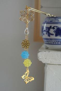 水色と黄色の金平糖の和簪 かんざし