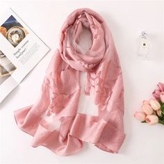 2018 solid color women scarf summer silk scarves for lady shawls and wraps organza Hollowed flowers beach stoles bandana foulard Summer Scarves, Scarf Summer, Bandana, Scarf Display, Embroidery Scarf, Pompom Scarf, Silk Shawl, Scarf Design, Shawls And Wraps