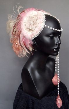 Marie Antoinette Pink & Ivory Peacock Feather by MissGDesignsShop, $350.00