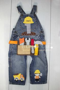 1st birthday Construction overalls Boys by personalityink on Etsy