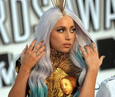 Gaga with her famous lavender and blue dip-dye look #ladygaga #hair #fashion