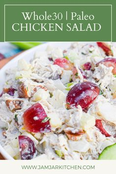 This Paleo and Whole30 compliant Chicken Salad combines shredded chicken breast, grapes, white onion, green apple, celery and pecans with fresh tarragon. It is dairy free, gluten free, low carb and absolutely delicious! Paleo Chicken Salad, Dairy Free, Gluten Free, Recipe Share, White Onion, Paleo Whole 30, Shredded Chicken, Cooking Light, Pecans