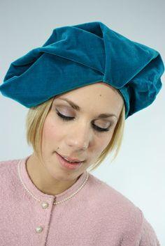 60's Hat Trebor Original / Turquoise Ocean Velvet Turban.