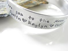 Love You To The Moon Aluminum Cuff with Children's by AoDesigns, $24.00