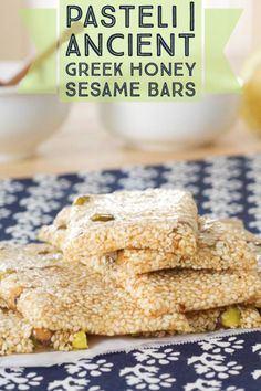 This classic Ancient Greek recipe is for what is know as the world's first energy bar. Made with sesame seeds and honey, give ancient greek pasteli a try Greek Sweets, Greek Desserts, Ancient Greek Food, Ancient Greece, Ancient Recipes, Greek Cooking, Greek Dishes, Italian Recipes, Amish Recipes