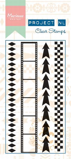 Pl1501 Border stamp - Arrows - Project NL clear stamps - Project NL - Hobbynu.nl