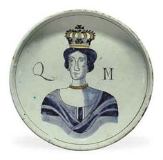 A BRISLINGTON DELFT ROYAL PORTRAIT DISH CIRCA 1689-1694 Painted in shades of blue and yellow and outlined in manganese with a bust-length crowned portrait of Mary II, flanked by the inscription QM, the rim with a manganese line Delft, Art Nouveau, Defender Of The Faith, William And Mary, Blue Pottery, Tile Murals, Blue And White China, Bird Cages, Pottery Making
