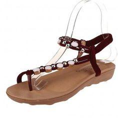 Red Rhinestone Flat Thong Sandals