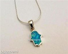 $29 Blue opal hamsa on silver ALED Kabbalah for luck