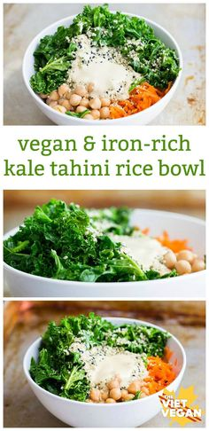 Vegan Iron-Rich Kale Tahini Rice Bowl + What It's Like to Date an Omnivore as a Vegan – The Viet Vegan Sometimes your body needs some iron, so do it a favour and make this vegan, iron-rich, kale tahini rice bowl. Buddha Bowl Vegan, Vegan Iron, Whole Food Recipes, Cooking Recipes, Recipes Dinner, Cooking Games, La Trattoria, Clean Eating, Healthy Eating