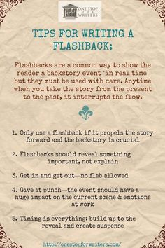 http://www.onestopforwriters.com/?utm_content=bufferbbe27&utm_medium=social&utm_source=pinterest.com&utm_campaign=buffer #writetip #flashback