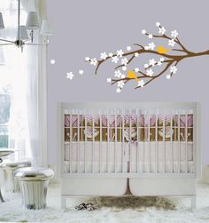 Cherry Blossom Branch with Birds vinyl wall decal by paisleyinapeartree on Etsy, $45.00