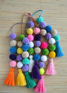 Pom pom bag charm Tassel bag charm Neon pink tassel bag charm Bag accessories…
