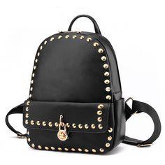 Women Men Rivet Lock Faux Leather Backpack Bookbag Casual Totes School Bag Trip #Unbranded #Backpack