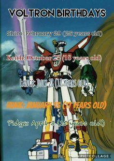 So Shiro is a Pisces Keith: Scorpio Lance: Leo Hunk: Capricorn and Pidge: Aries