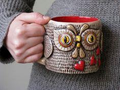 OOAK OWL MUG Valentine's Day Unique Gift Large Ceramic Entirely Handmade Cofee Tea Cup / red hearts, dark brown, yellow, mustard, via Etsy. Cute Coffee Mugs, Cute Mugs, Coffee Cups, Ceramic Owl, Ceramic Cups, Fine Porcelain, Porcelain Ceramics, Owl Mug, Pottery Mugs