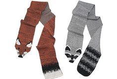 "Recycled Cotton Scarves: give a faux ""fox"" or ""raccoon"" stole to your favorite animal lover. Yarn spun from scrap cotton."