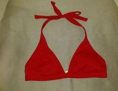 Roxy Bikini Swim Top Halter Size Medium Red Clasp Back Tie Top Padded Womens #Roxy #BikiniTop
