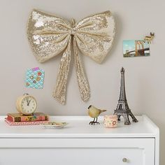 The Land of Nod | Kids' Holiday Decor: Sequin Bow Wreath in Hanging Décor