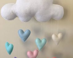 Modern Three Cloud Felt Baby Mobile with Crystal Glass