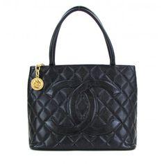 f30087175b2e Chanel Black Quilted Caviar Leather Gold Medallion Tote Bag - www. Mosh  Posh Designer Consigner