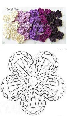 Crochet Flower Patterns Lovely crocheted flower on a Japanese site - Salvabrani Crochet Motifs, Crochet Diagram, Crochet Afghans, Crochet Stitches, Crochet Baby, Blanket Crochet, Hat Crochet, Thread Crochet, Love Crochet