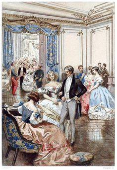 Parisian society in 1850 was given up to pleasures, balls, receptions, and theaters… Albert Lynch, from The Frenchwoman of the century, by Octave Uzanne, London, 1886. (Source: archive.org.)