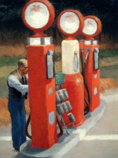 Edward Hopper - Painting - Realism - Details from Gas, 1940 American Realism, American Artists, Edward Hopper Paintings, Ashcan School, Melancholy, The Good Old Days, Famous Artists, Art History, Colors