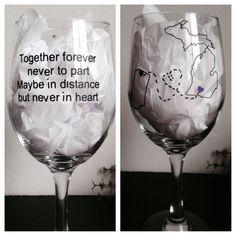 Long distance friendship wine glass best friends wine glass on Etsy, $12.00