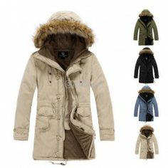 Men's Cloth Hooded Winter Long Coat Outerwear Warm