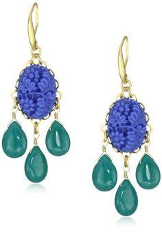 "David Aubrey ""Indigo"" Carved Blue Oval Drop Earrings"