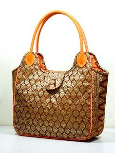 New Sri Vichai Gold Brown Exclusive Thai fabric Tote Bag by Thai Luxury Handmade Unique Silk Fabric Tote Bags Tote Bags Handmade, Handmade Handbags, Fabric Tote Bags, Gold Handbags, Silk Fabric, Pouch, Thai Art, Shoulder Bag, Handmade Products