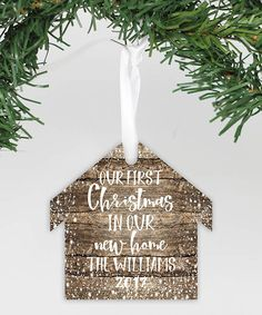 f2c576846d6f7 Rustic  First Christmas in Our New Home  Personalized Ornament  Christmas  Rustic